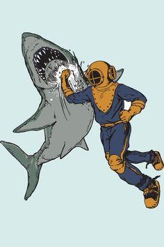 Shark Punch T-shirt, American Apparel, Ash Grey Sea Foam $21 // super awesome