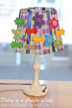 Bow holder lamp shade- perfect for little girl's room!