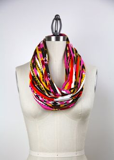 infinity scarf  black orange pink yellow fall by gertiebaxter,