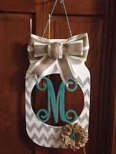 "18"" Monogram Mason Jar Wall/Door Hanger - Gray and White Chevron with burlap"