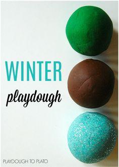 Winter playdough recipes - pine, mint, and hot chocolate.