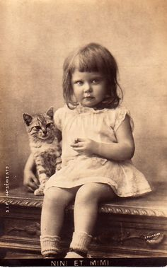 Little Girl w/Kitty ~ Vintage Postcard by chicks57, via Flickr