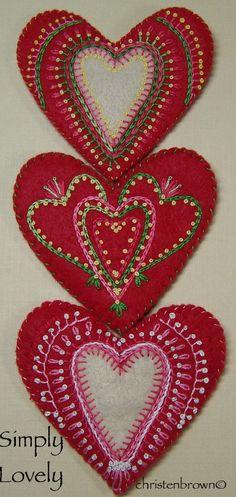 felt heart ornaments