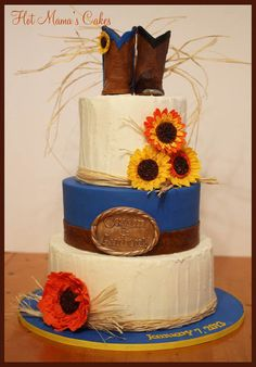Country wedding cake, instead of blue;teal!