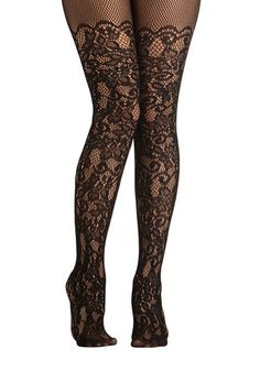 Intricately Exquisite Tights - Black, Lace, Good, Sheer, Print, Party, Film Noir, Vintage Inspired, 20s, 30s, 40s, Top Rated, Valentine's, B...