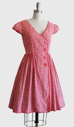 @ Joanne Walton Vintage 1950s Red & White Gingham Summer Dress w/ Full Skirt