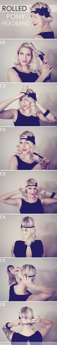 DIY Rolled Ponytail Headband Hairstyle DIY Rolled Ponytail Headband Hairstyle