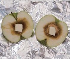 Baked Apple for camping! Halve an apple. Hollow out the core and fill with brown sugar and a pat of butter. Wrap in tin foil and place in the coals.