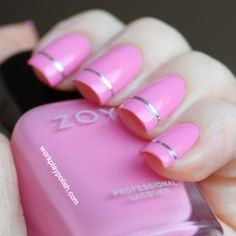 Zoya Nail Polish in Shelby with one stripe of silver foil.  Simple,  but very cute.
