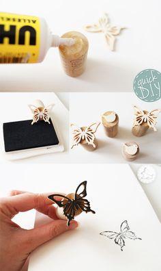 Quick DIY easy stamp Butterfly  cheap creative cool cute scrapbook sacrabooking idea Cards +++ FACIL RAPIDO SELLO ESTAMPAR MARIPOSA PARA MANUALIDADES TARJETAS INVITACIONES CARTAS SCRAPBOOKING PERSONALIZAR PAPEL DE CARTA TARJETAS COMERCIALES FELICITACIONES NIÑOS