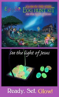 Egglo is an interactive egg hunt with a Gospel message. The glowing eggs represent Jesus – God's light of the world (G.L.O.W.). It's a powerful lesson your kids will remember.    The Egglo Kit has everything you need to start your adventure. It includes an interactive story to teach kids about the light of Jesus. In The Egg-cellent Easter Adventure kids search for glowing eggs, just like your kids will do. Kids learn about Jesus in a fun, memorable way. Get your Egglo Egg Hunt Kit now.