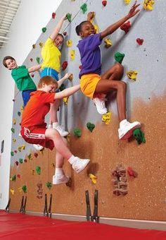 A climbing rock wall for PE! I wish!