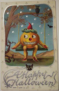 Vintage Halloween postcard  www.yournestdesign.blogspot.com