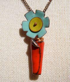enamel copper flower pot handmade necklace pendant. $28.00, via Etsy.