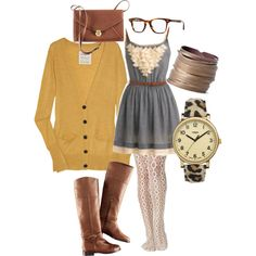 i'd rock: grey dress (old navy via unique).  brown belt (?).  texture tights (?).  i don't have a yellow sweater (WANT), but i do have a green one (Unique).  brown boots (target) or brown booties (nine west).