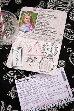 Passport Invitations... Love it for Paris Theme Birthday party