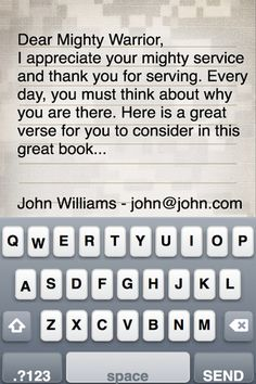 The OPERATION WORSHIP SIGN A BIBLE APP allows you to send a personal message FREE of charge to an active duty member of the military. Each message is printed and placed into the front cover of a Military Camo covered Bible and it is deployed FREE to a member of the military. There is no charge for this service and you can sign unlimited Bibles using this application. www.operationwearehere.com