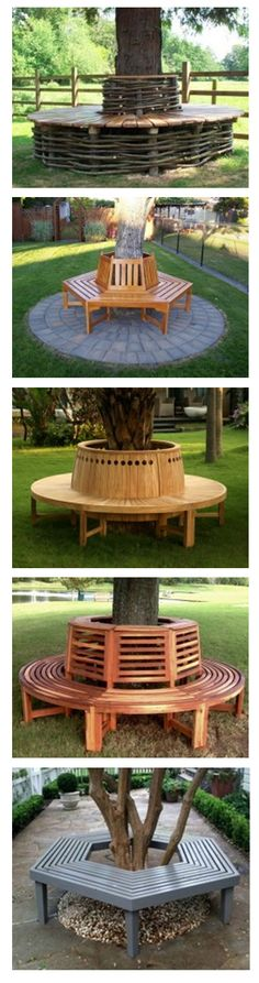Dozens of designs for creating your own park-like tree bench.