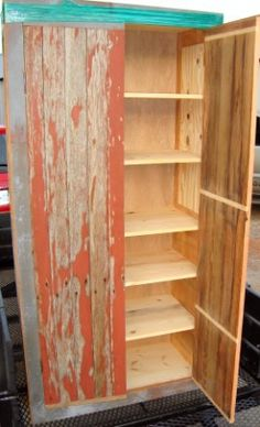repurposed barn wood and t+g flooring - and some wide pine - makes a nice pantry cabinet