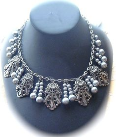 Art Deco Silver-tone fringe necklace dating from the Flapper Era of the 1920s.