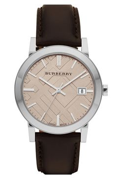Burberry Timepieces Check Stamped Round Dial Watch | Nordstrom
