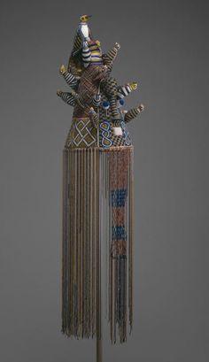 Africa | Crown (Ade). Yoruba  Idowa, Ijebu region, Nigeria | Owned by the dagburewe (king) of Idowa | Late 19th/mid-20th century | Glass beads, fabric, thread, and copper alloy