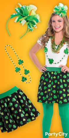 Stumped on style this St. Patrick's Day? Upgrade your green holiday ensemble with a shamrock skirt, emerald leggings, three-leaf clover beads and a bow headband from Party City. You'll be pinch proof!