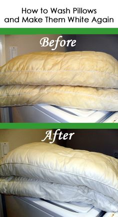 How to clean your pillows for a brighter white- also the tennis ball trick for a fluffy pillow in the dryer