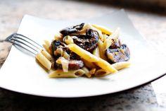 Pasta with Whiskey, Wine & Mushrooms