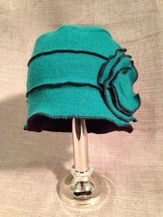 Fleece Lined Green Cashmere Hat Made With Recycled by sewhappyone