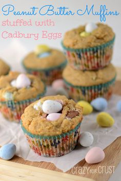 Peanut Butter Cadbury Mini Egg Muffins by www.crazyforcrust.com | You NEED these for breakfast! Peanut butter muffins stuffed with Cadbury Mini Eggs...bliss! #Cadbury #breakfast #Easter