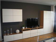 Ikea besta floating cupboards over long low sideboard