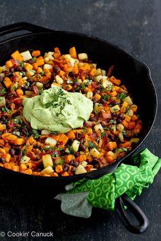 Sweet Potato Hash Recipe with Creamy California Avocado Sauce by cookincanuck #Sweet_Potato #Black_Beans #Bacon #Avocado