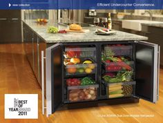 Love!  A dual fridge in the kitchen island? So smart!  I'll be saving for this!