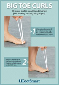 Help strengthen your feet with these simple big toe curls that you can do at home. Flex your big toe to help improve your walking, running and jumping. 1. Wrap a shoelace around the bottom of your big toe. Grab the ends of the shoelace with your hands. 2. Pull your big toe up off the ground and toward the knee as high as you comfortably can. #FootHealth