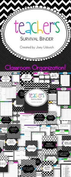 This is one of FIVE themes that I have made for my ULTIMATE Teacher Binder collection! :) You will NEVER have to thumb around your desk and filing cabinets for what you need. You will already have it in your binder...organized and neatly placed! 240 pages of organization! $