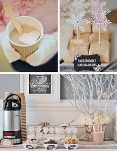 "Hot chocolate bar with ""Guimauve Confections"" gourmet marshmallows for a Winter Wonderland party!!! Soooo pretty!"