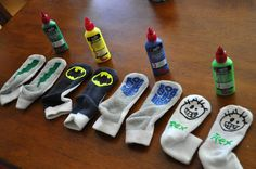 Easy to do Gripper socks. Going to get out the Tulip paints and make all the grandchildren some with a design for each of their little personalities!