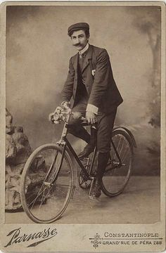 Mustachioed Man on Bicycle - Cabinet Card from Constantinople
