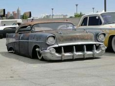 slammed and chopped '57 Chevy rat rod