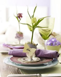 Easter table setting in lavender tones