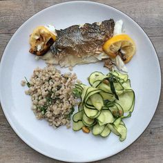 prep! Whole grilled sea bass, raw zucchini salad with mint, pistachios ...
