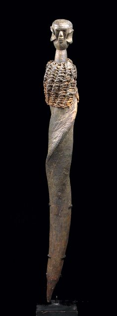 Africa | Medicine Horn Container from the Zigua people of Tanzania | Animal horn, plant fiber and a carved wooden peg in the shape of a human head