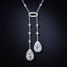 Antique Pear Shaped Diamond Negligee Necklace