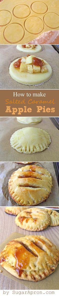 Individual Salted Caramel Apple Pies | www.sugarapron.com | #recipes #caramel #apple #pie