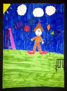 2nd Grade - Shape Clowns - Markers and Sharpies.  Borrowed from http://artmakeskidssmart.blogspot.com/
