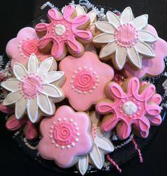 Flower Cookies 1 dozen Decorated Sugar Cookies. $38.00, via Etsy.