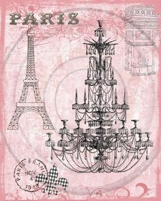 Paris Pink Chandelier Digital Collage for Hang Tags by fringeart