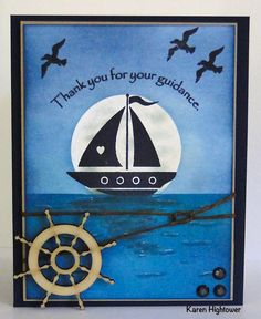 This is made using Gina K Designs - Here Comes the Sun StampTv Kit.  The stamp set is called Ship to Shore, I also used Gina K Designs Pure Luxury Card stock- In the Navy, Kraft and White, I used Gina K Designs Inks and the New Wood Embellishments. You can get these supplies at http://www.shop.ginakdesigns.com