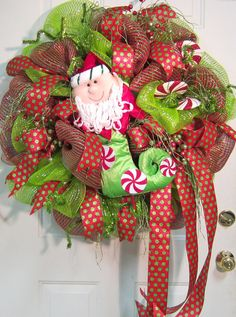 XL Deco Mesh Wreath With Santa Stocking by LadybugWreaths on Etsy, $169.97